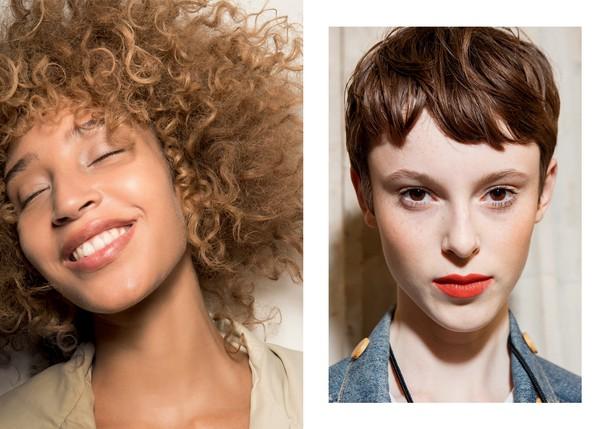 À direita, beleza de Sonia Rykiel (Foto: Imaxtree e Divulgação)