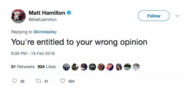 A resposta do capitão da seleção de curling dos EUA à crítica feita pela atriz Kirstie Alley (Foto: Twitter)