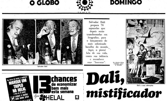 Capa do caderno que trazia a entrevista exclusiva de Salvador Dali ao Globo