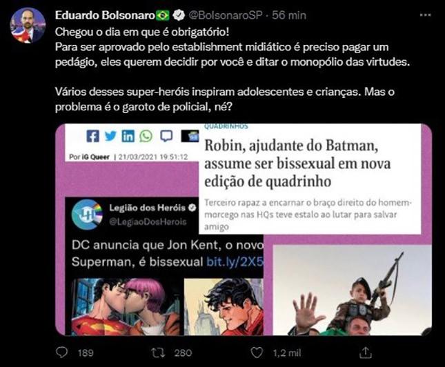 Eduardo Bolsonaro ficou revoltadíssimo e amedrontado com o novo Super-Homem bissexual