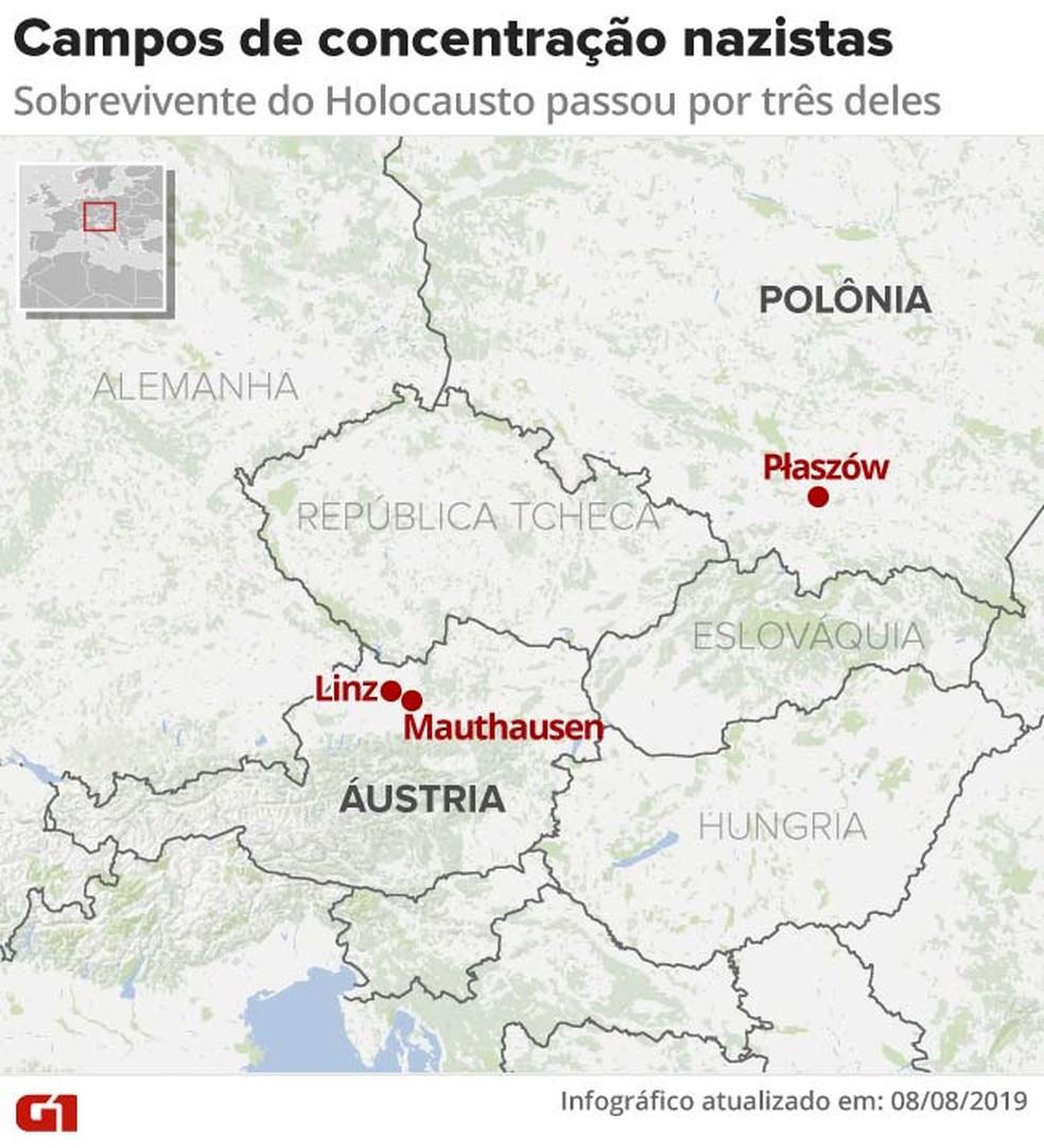 Saul passou por três campos de concentração nazistas: Płaszów (onde trabalhou em uma fábrica de Schindler), Mauthausen e Linz. — Foto: Arte G1