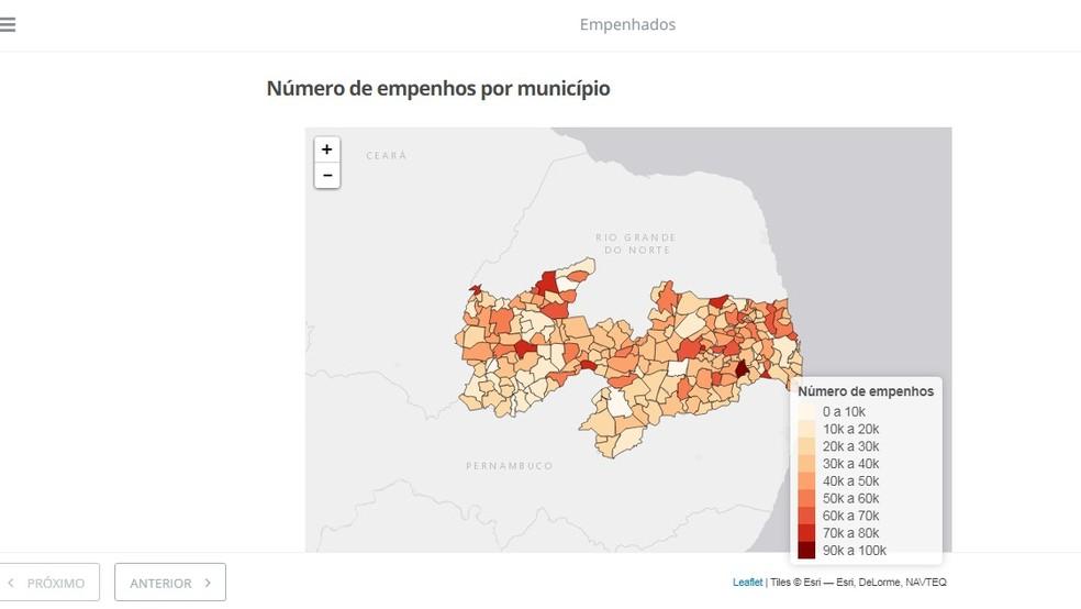 Ferramenta 'Empenhados' analisa gastos dos municípios da Paraíba (Foto: Reprodução/Empenhados)