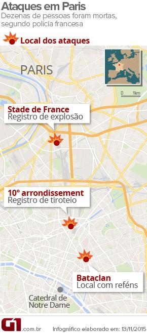VALE ESTE - Ataques terroristas em Paris deixam mortos; houve explosões e há reféns (Foto: Arte/G1)