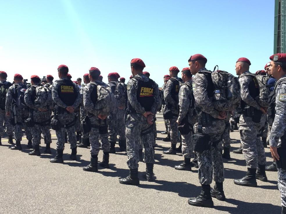 Força Nacional era responsável por segurança em área externa de presídio por onde detentos fugiram, informou a Sejuc (Foto: Inaê Brandão/G1/Arquivo)