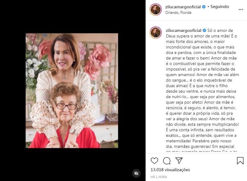 Zilu Godoi fala sobre o Dia das Mães (Foto: Reprodução / Instagram)