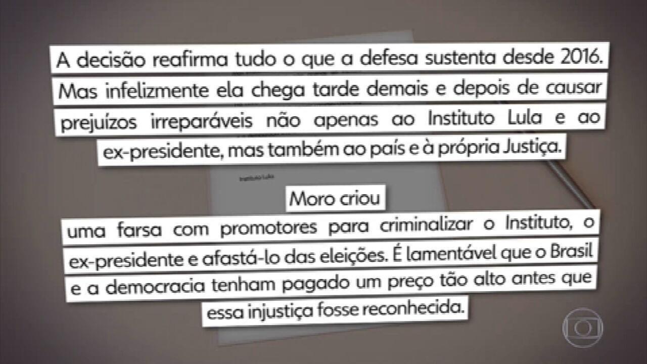 Decisão de Fachin não repara danos causados por Moro e pela Lava Jato, diz defesa de Lula
