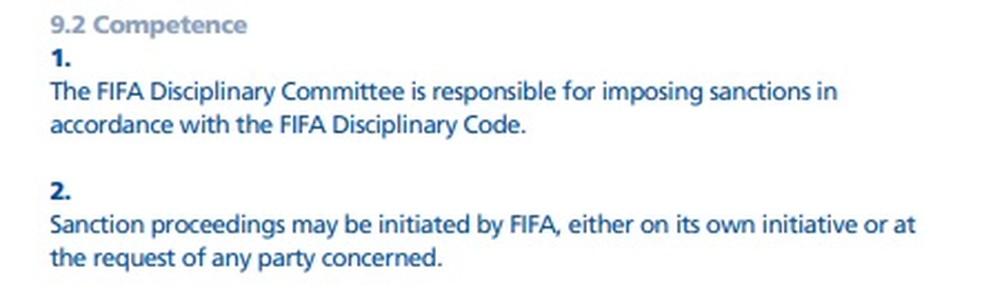 Trecho do Regulamento sobre Status e Transferências de Jogadores da FIFA — Foto: Reprodução FIFA
