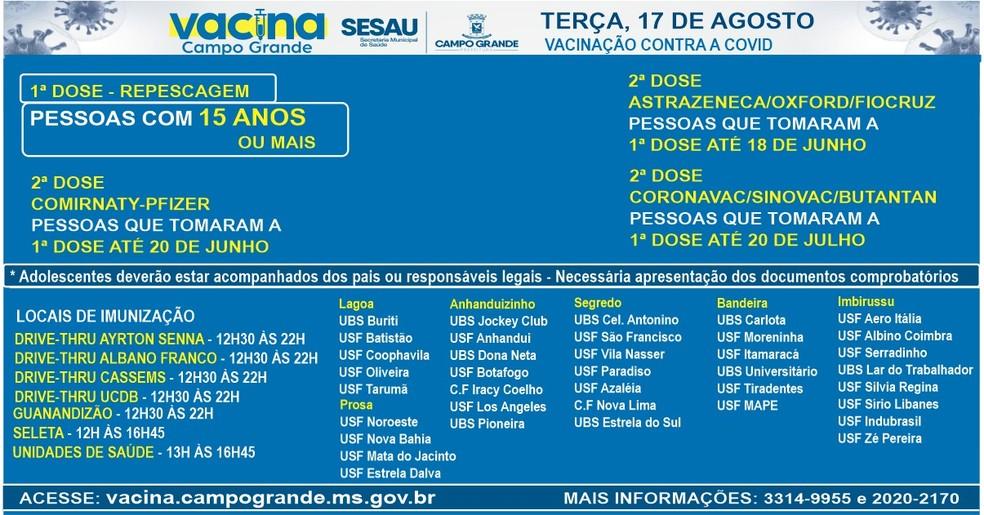 Pontos de vacinação contra Covid, em Campo Grande.  — Foto: PMCG/Reprodução