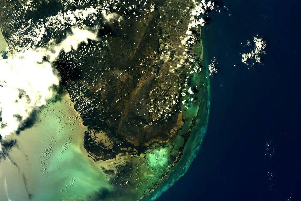 Imagem feita da Estação Espacial Internacional do Parque Nacional Everglades, na Flórida (EUA). — Foto: Nasa