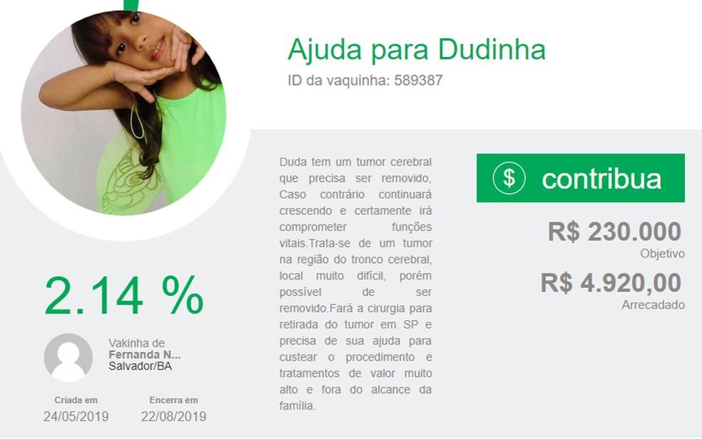 Família de Salvador luta para conseguir cirurgia de menina de 6 anos com tumor no cérebro e faz vakinha online na Bahia — Foto: Reprodução