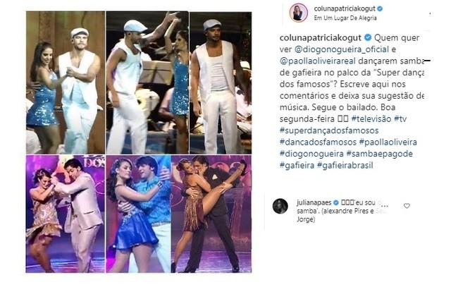 Juliana Paes sugere samba para Paolla Oliveira e Diogo Nogueira (Foto: Reprodução/TV Globo e Instagram/colunapatriciakogut)