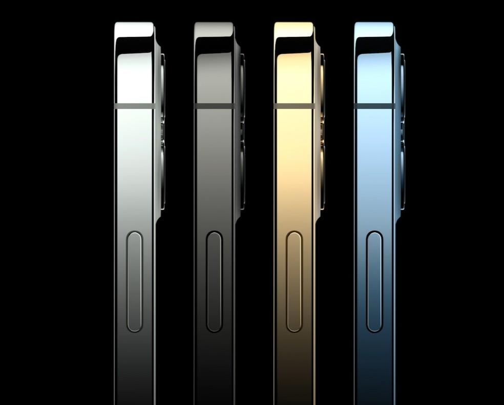 iPhone 12 Pro e 12 Pro Max têm acabamento brilhante. — Foto: Reprodução/Apple