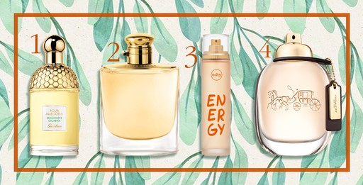1. Aqua Allegoria - Bergamote Calabria, Guerlain, R$ R$ 310/ 2. Woman By Ralph Lauren, R$ 299 (30 ml)/ 3. Energy, Mahogany, R$ 69,00 (100ml)/ 4. Coach Eau de Parfum e custa R$ 549 (90 ml)