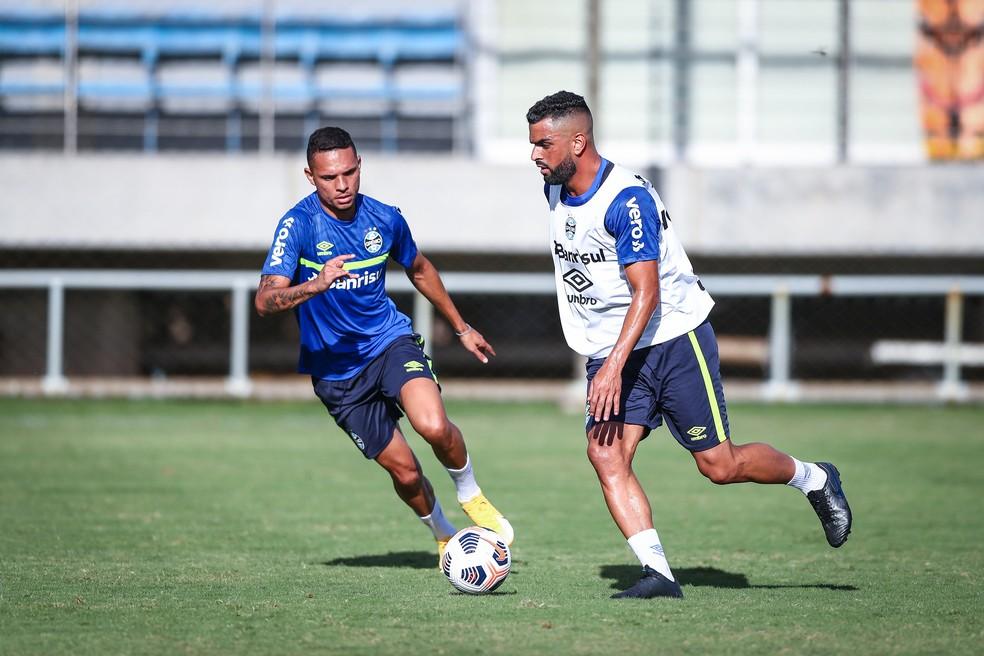 Luiz Fernando e Maicon em treino do Grêmio. Volante volta a ficar à disposição — Foto: Lucas Uebel/DVG/Grêmio