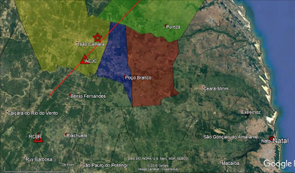 Estrela mostra epicentro de tremor de terra registrado em João Câmara, no RN — Foto: LabSis/Divulgação