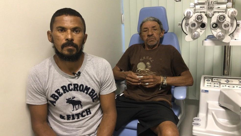 Filho doou  células-tronco da córnea para ajudar pai a recuperar a visão, em Campina Grande (Foto: Luíza Maia Sales/Cesed)