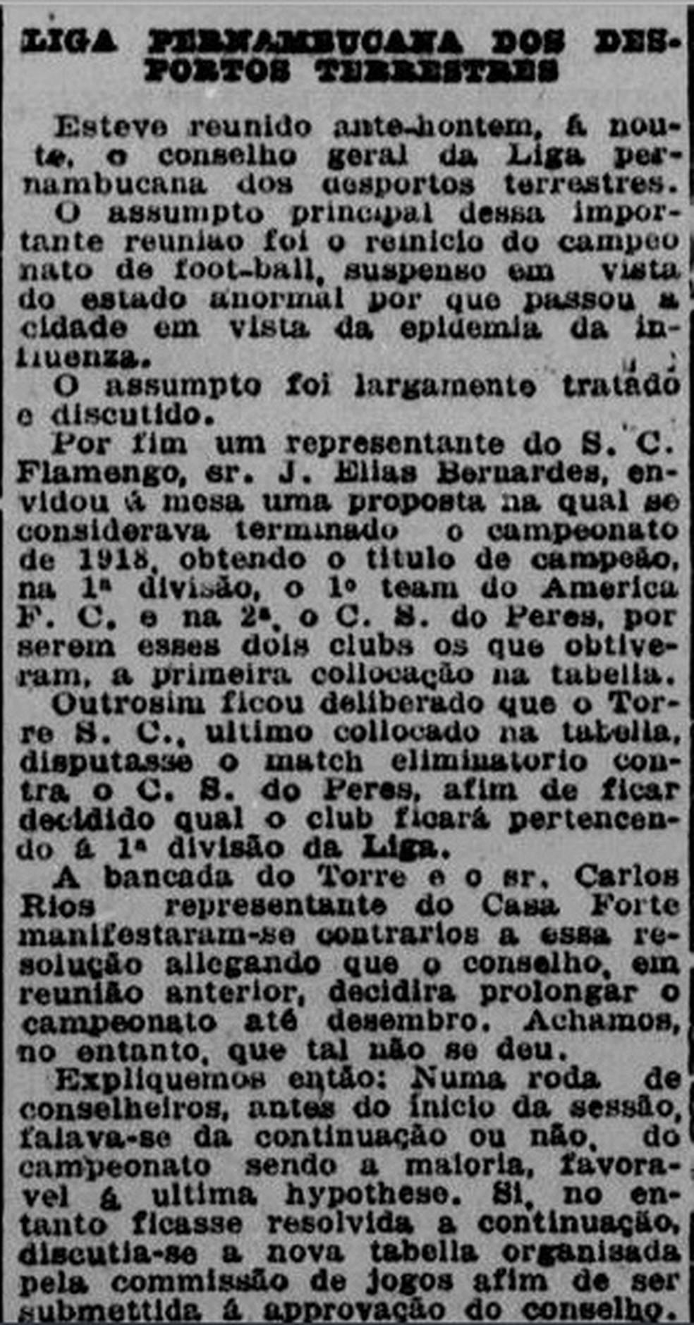 Jornal relata reunião em Pernambuco para ajustar calendário por causa da gripe espanhola — Foto: Reprodução/Diario de Pernambuco