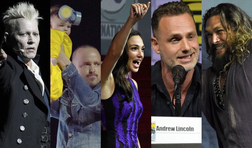 Johnny Depp, Aaron Paul, Gal Gadot, Andrew Lincoln e Jason Momoa foram destaques da Comic-Con 2018 em San Diego (Foto: AP e Reuters)