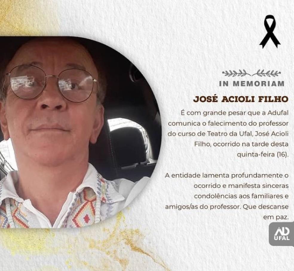 José Acioli Filho, professor da Ufal, é encontrado morto em Maceió — Foto: Adufal