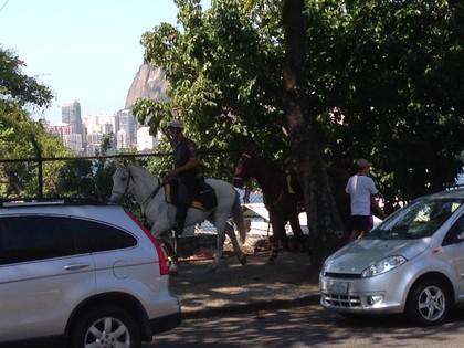 Policiamento no entorno da Lagoa Rodrigo de Freitas foi reforçado (Foto: Vicente Seda)