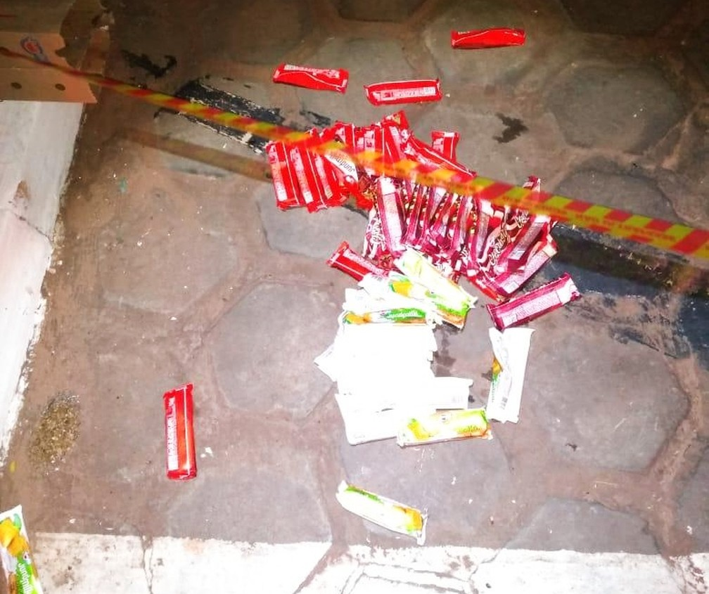 Policiais encontraram sorvetes ainda gelados ao lado do corpo da mesma marca existente em loja que foi furtada na região — Foto: Polícia Civil/Divulgação