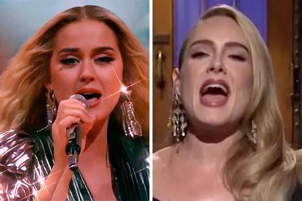 Separadas na maternidade? Katy Perry (à esq.) e Adele (Foto: reprodução)