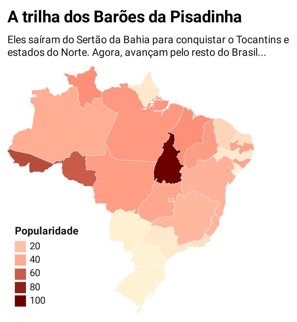 Índice de popularidade dos Barões da Pisadinha, baseado em buscas no Google entre janeiro de 2019 e agosto de 2020. O índice máximo, 100, indica o estado com maior busca por população no Estado, Tocantins — Foto: G1 / Google Trends