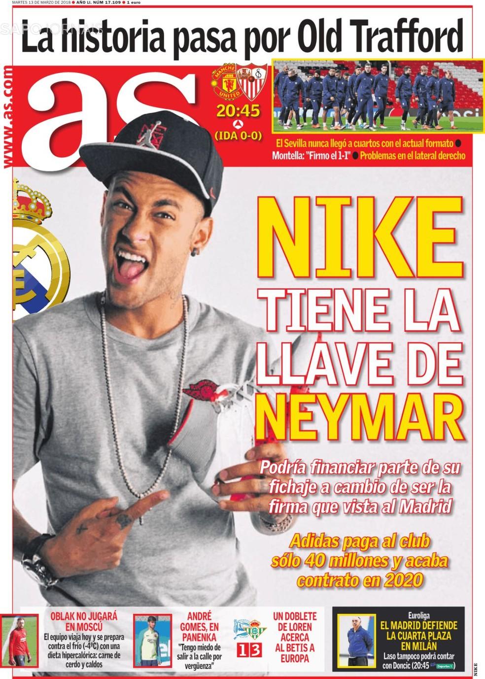 """Neymar é capa do diário espanhol """"AS"""" nesta terça-feira (Foto: Reprodução / Twitter)"""