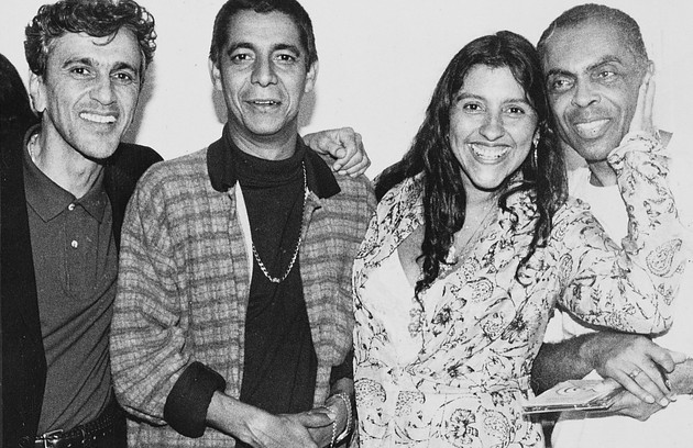 Em 1997, ao lado de Caetano Veloso, Zeca Pagodinho e Gilberto Gil (Foto: Cristina Granato)