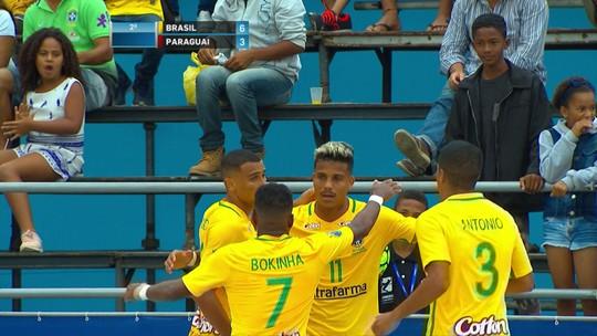 Os gols de Brasil 7 x 4 Paraguai pela Liga Sul-Americana de futebol de areia
