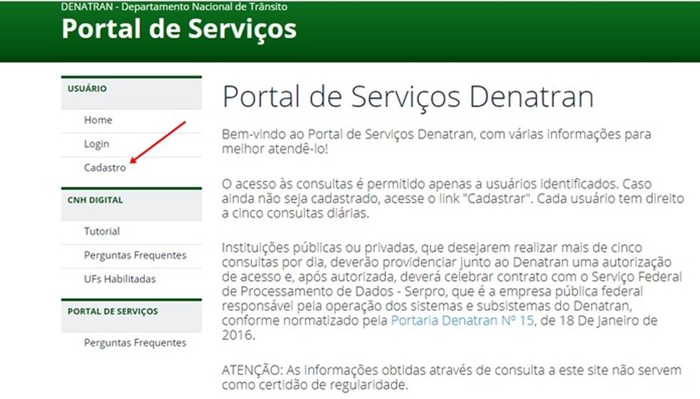 Como cadastrar a CNH Digital e ativar no Portal de Serviços (Foto: Reprodução/Mirella Stivani)