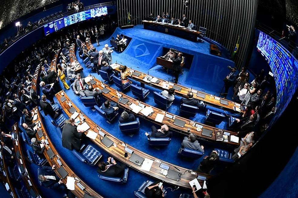 Senado Federal durante votação em primeiro turno da PEC da reforma da Previdência — Foto: Marcos Oliveira/Agência Senado