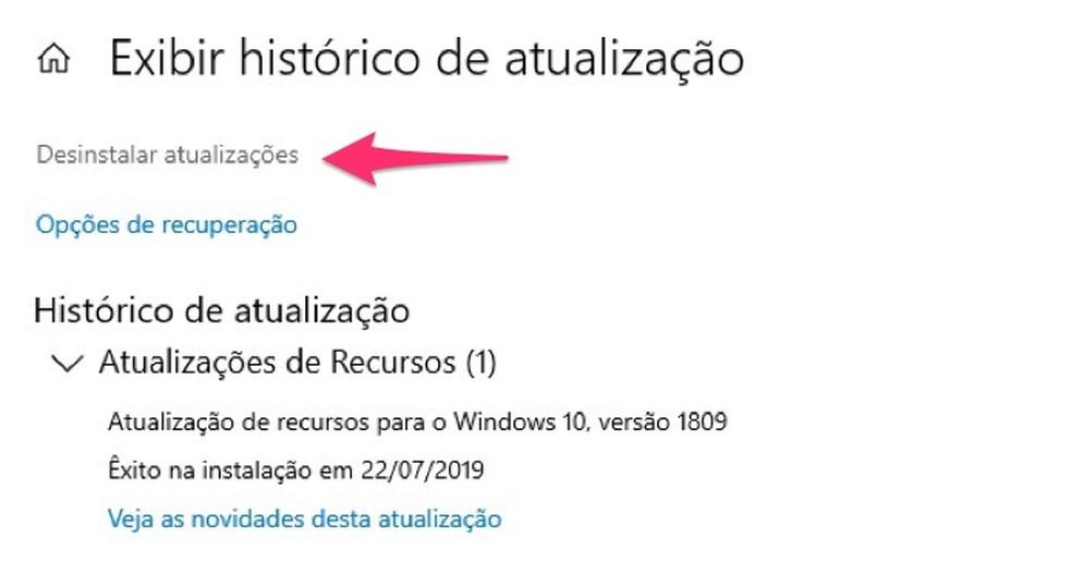 Ação para reverter atualizações do sistema para resolver problemas de áudio no Windows — Foto: Reprodução/Marvin Costa