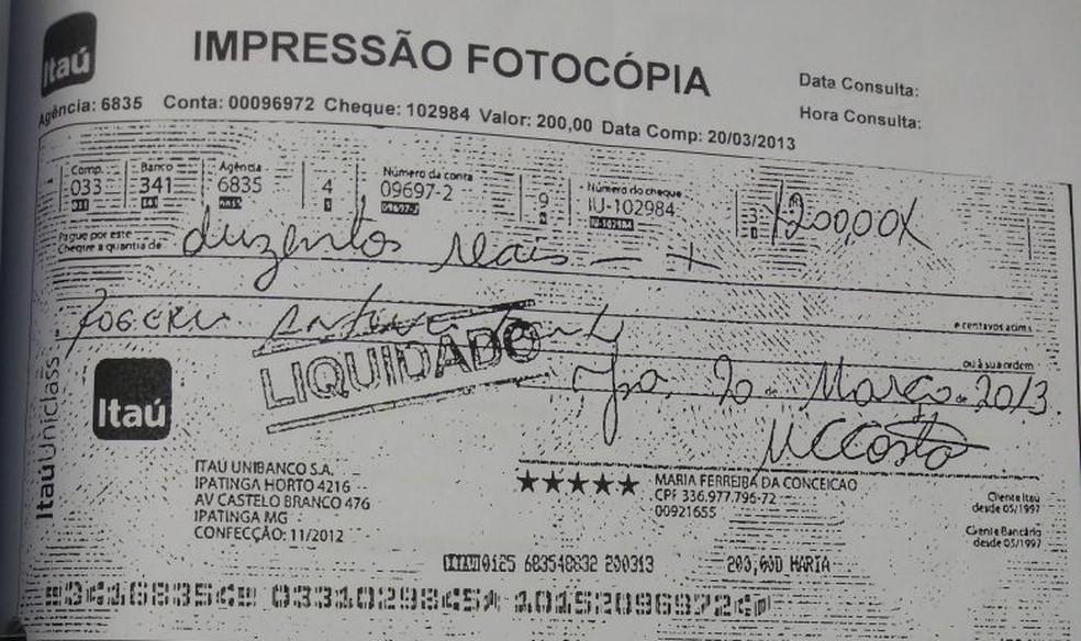 Comprovante do primeiro pagamento realizado para o vereador (Foto: Divulgação/ Polícia Civil)