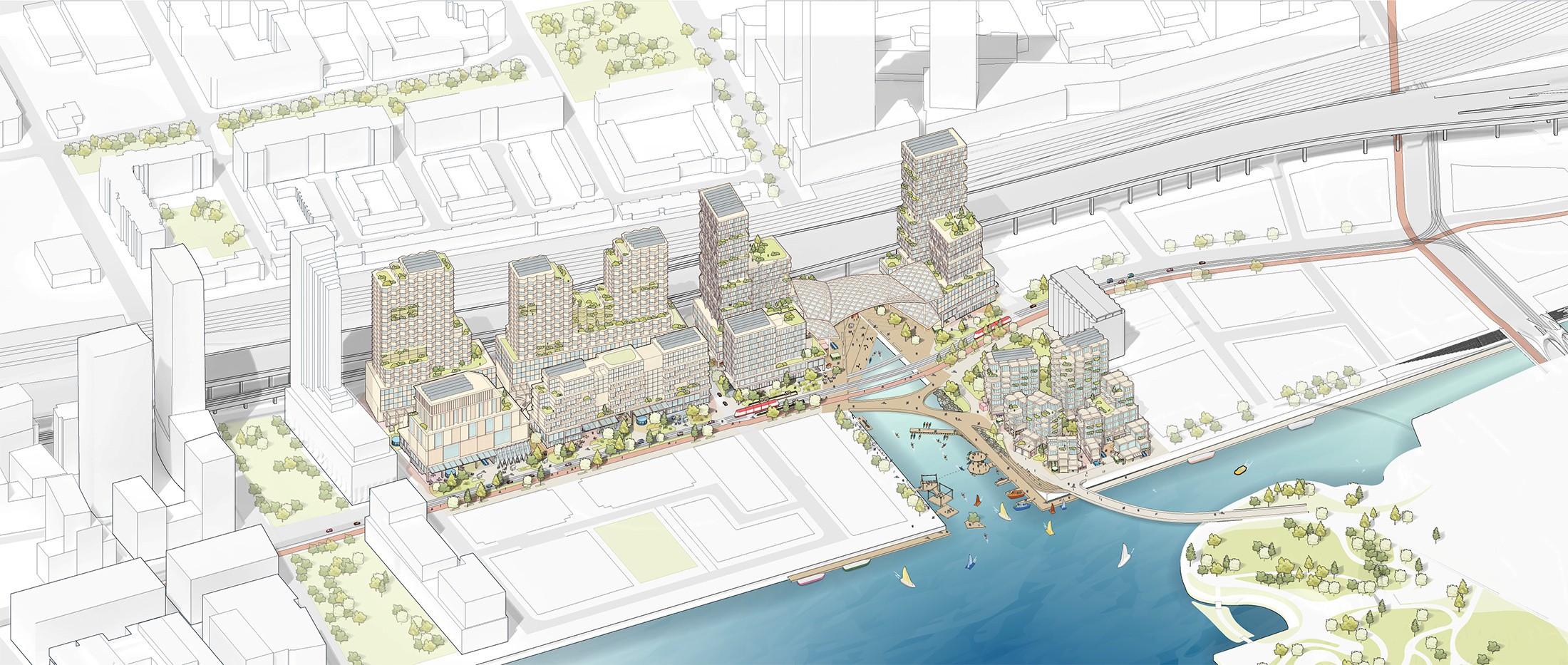 A planta da área a ser reurbanizada em Toronto, no Canadá. A zona portuária entrou em declínio e está abandonada há décadas (Foto: Reprodução/Sidewalk Labs)