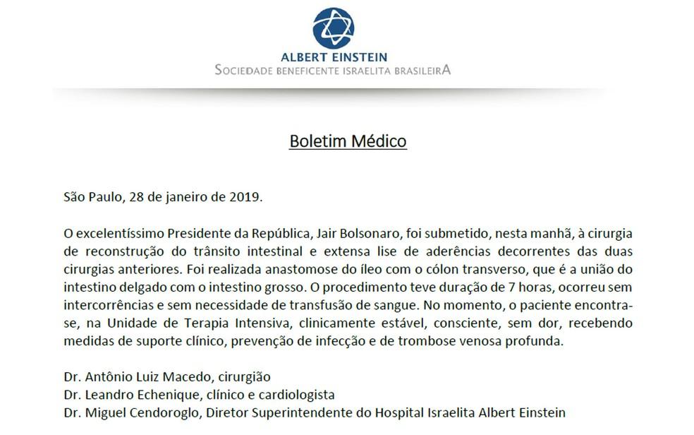 Boletim médico da cirurgia de Jair Bolsonaro nesta segunda-feira — Foto: Reprodução