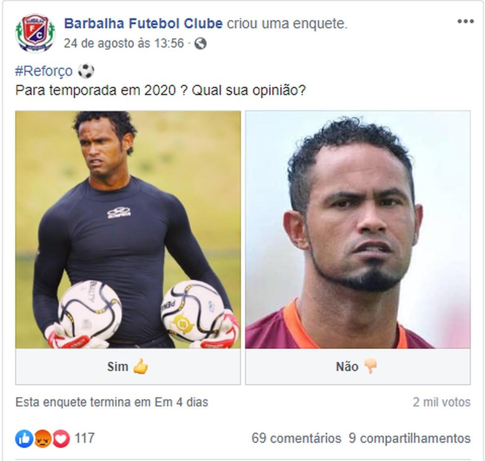 Barbalha fez enquete para saber se torcida aprovaria contratação de Bruno — Foto: Reprodução/Facebook