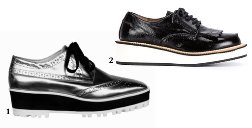 1. Oxford silver Vinci Shoes, 430. 2. Brogue de couro envernizado Givenchy, na Farfetch, R$ 3.253