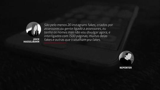Joice diz que assessores de Bolsonaro e dos filhos atuam nas redes com perfis falsos