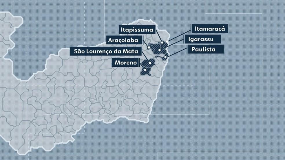 Sete municípios da Região Metropolitana do Recife fecharam maternidades nos últimos cinco anos (Foto: Arte/TV Globo)