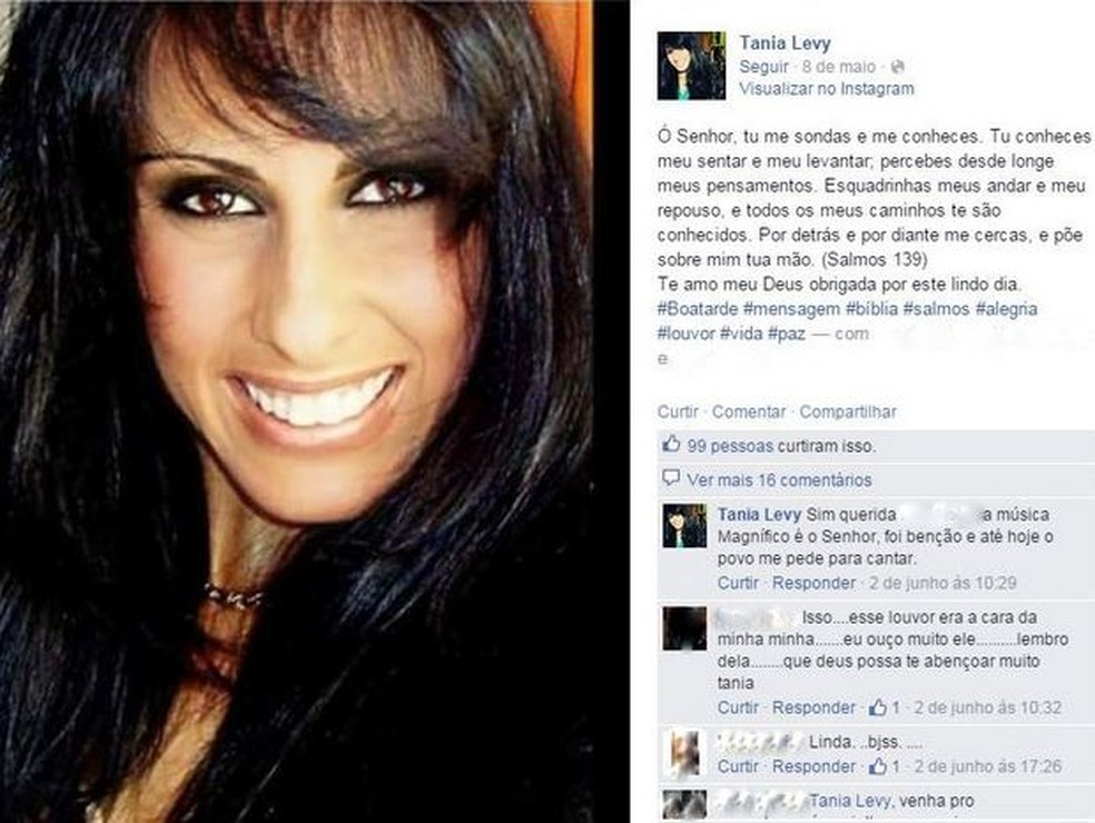 Cantora Tania Levy  — Foto: Reprodução/Facebook