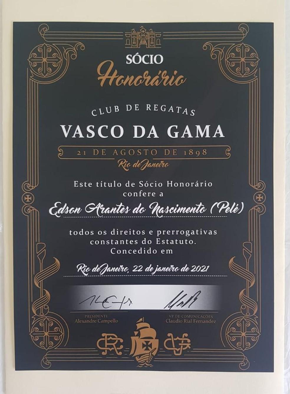 Diploma de Pelé de sócio honorário do Vasco — Foto: Divulgação