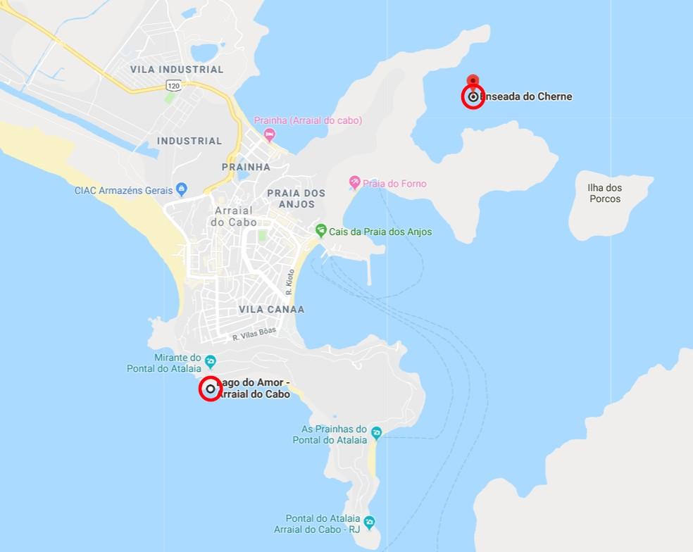 Corpo de cabo da Marinha desapareceu no Lago do Amor e foi encontrado na Enseada do Cherne, em Arraial do Cabo, no RJ — Foto: Reprodução/Google Maps