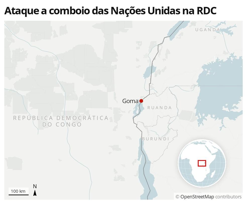 Mapa mostra região de Goma, na República Democrática do Congo — Foto: G1 Mundo