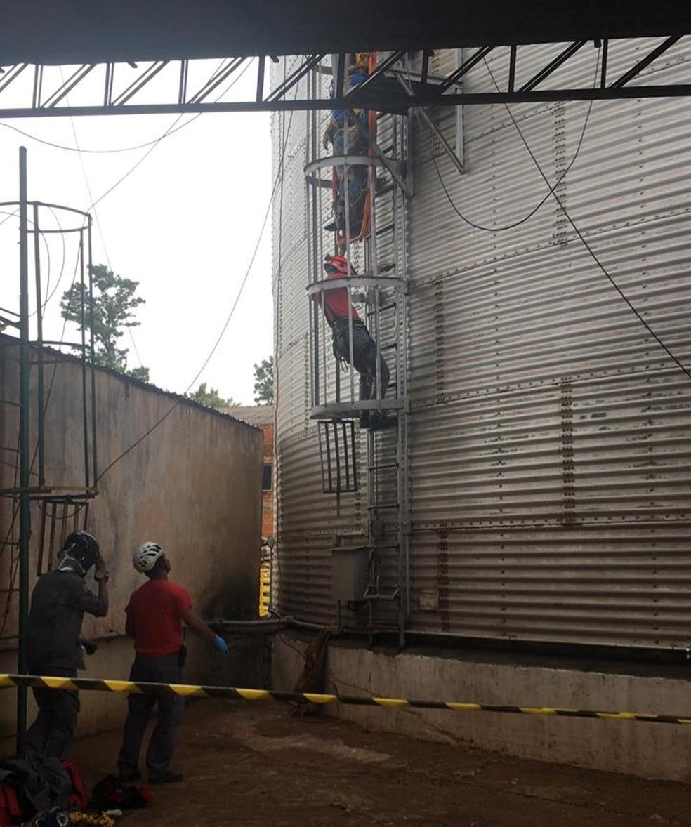 Funcionário foi resgatado e encaminhado para o Hospital Regional de Assis  — Foto: Corpo de Bombeiros/Divulgação