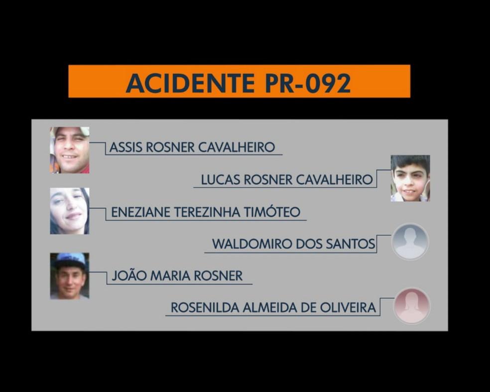 Seis pessoas morreram no acidente — Foto: Reprodução/RPC