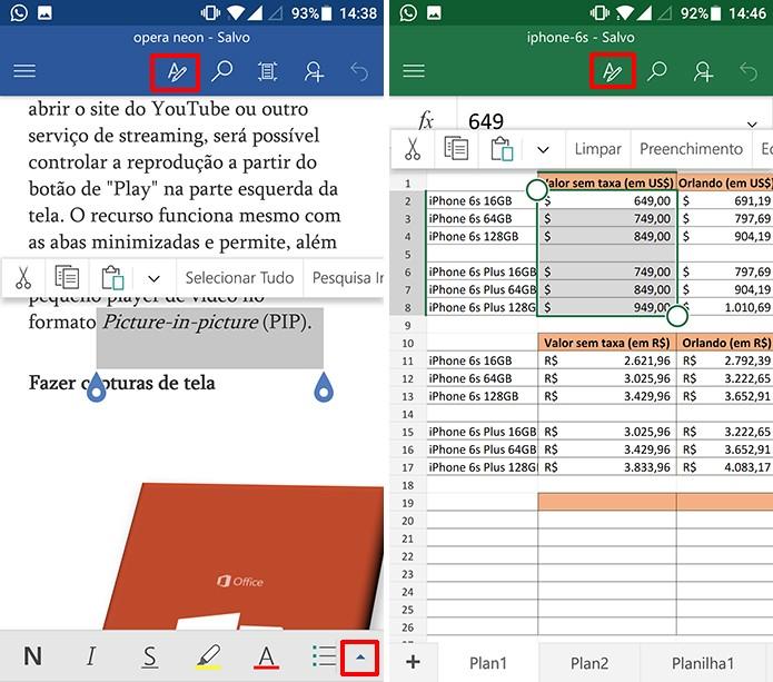 Toque para exibir comandos do Word e Excel para Android (Foto: Reprodução/Elson de Souza)
