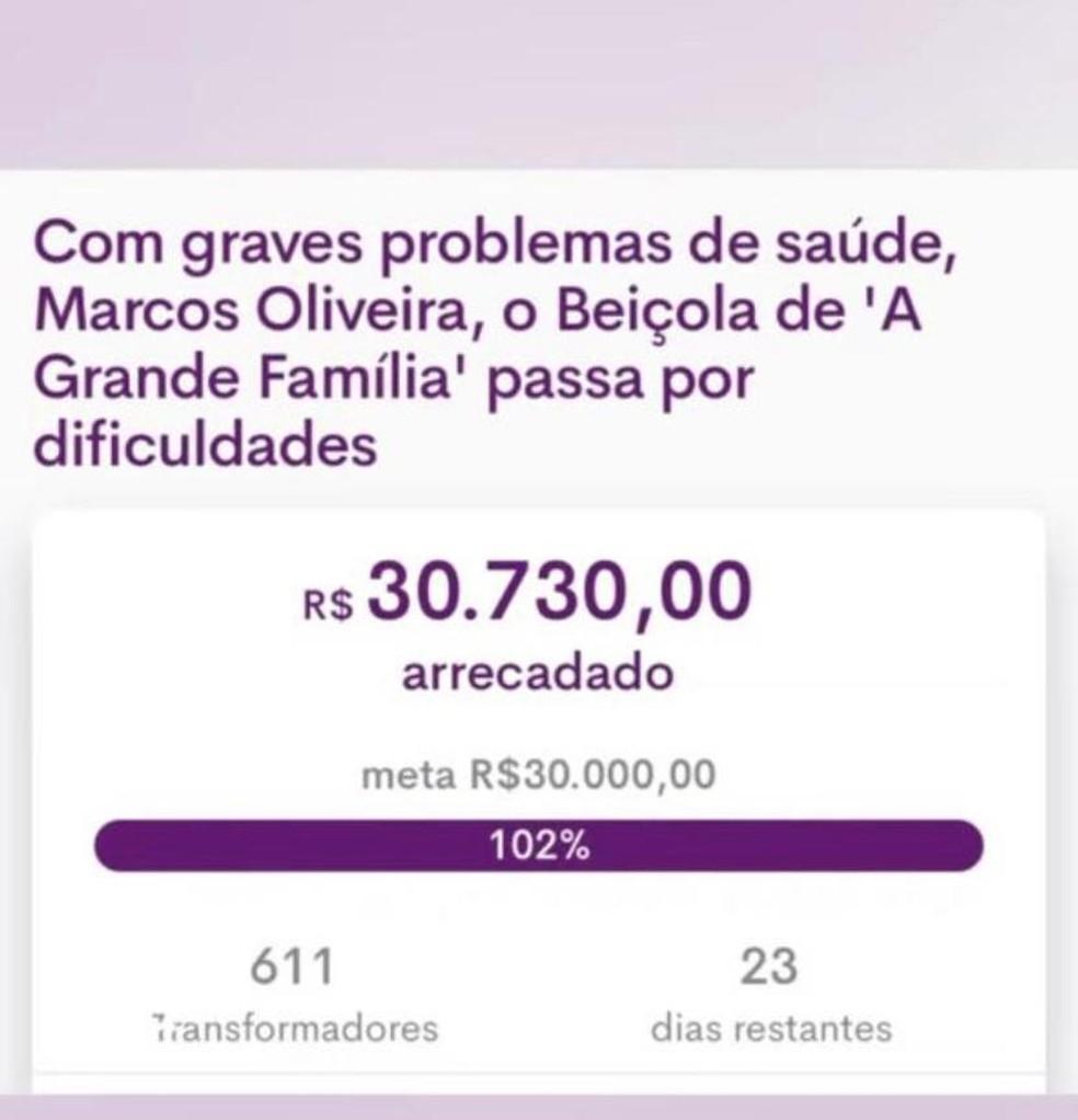 Fãs arrecadam dinheiro para Marcos Oliveira, o Beiçola  — Foto: Reprodução/Instagram