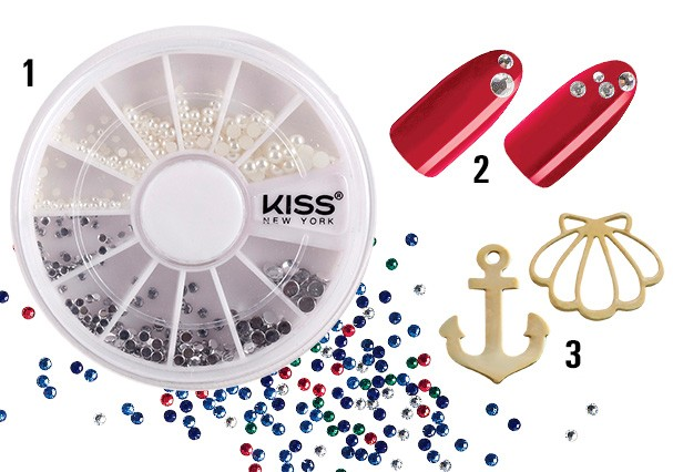 1. Kit de cristais e perólas, R$16, Kiss New York. 2. Cristais de acrílico coloridos, R$ 6 (400 unidades), Marco Boni. 3. Bijoux de metal, R$ 5, Kiss New York