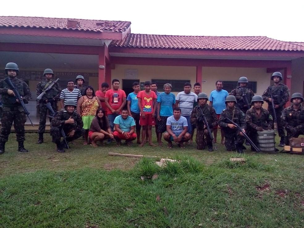 Índios e Funai negam qualquer tipo de ataque ao Exército na aldeia — Foto: Geraldo Abdias Lopes/ Funai